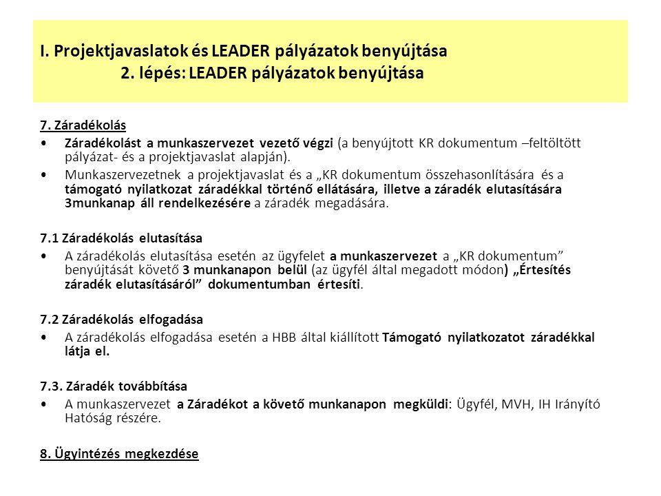 I. Projektjavaslatok és LEADER pályázatok benyújtása 2. lépés: LEADER pályázatok benyújtása 7. Záradékolás Záradékolást a munkaszervezet vezető végzi