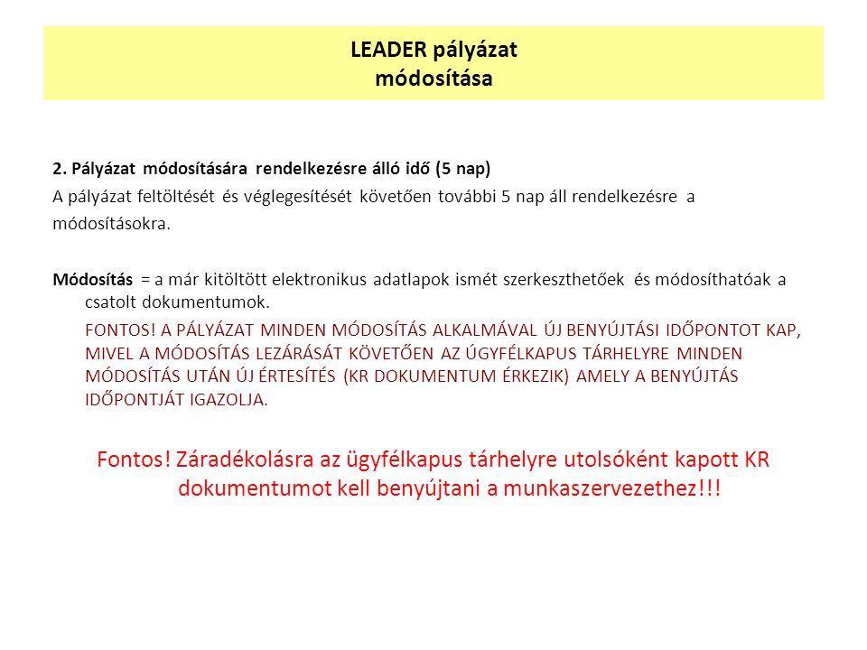 LEADER pályázat módosítása 2.