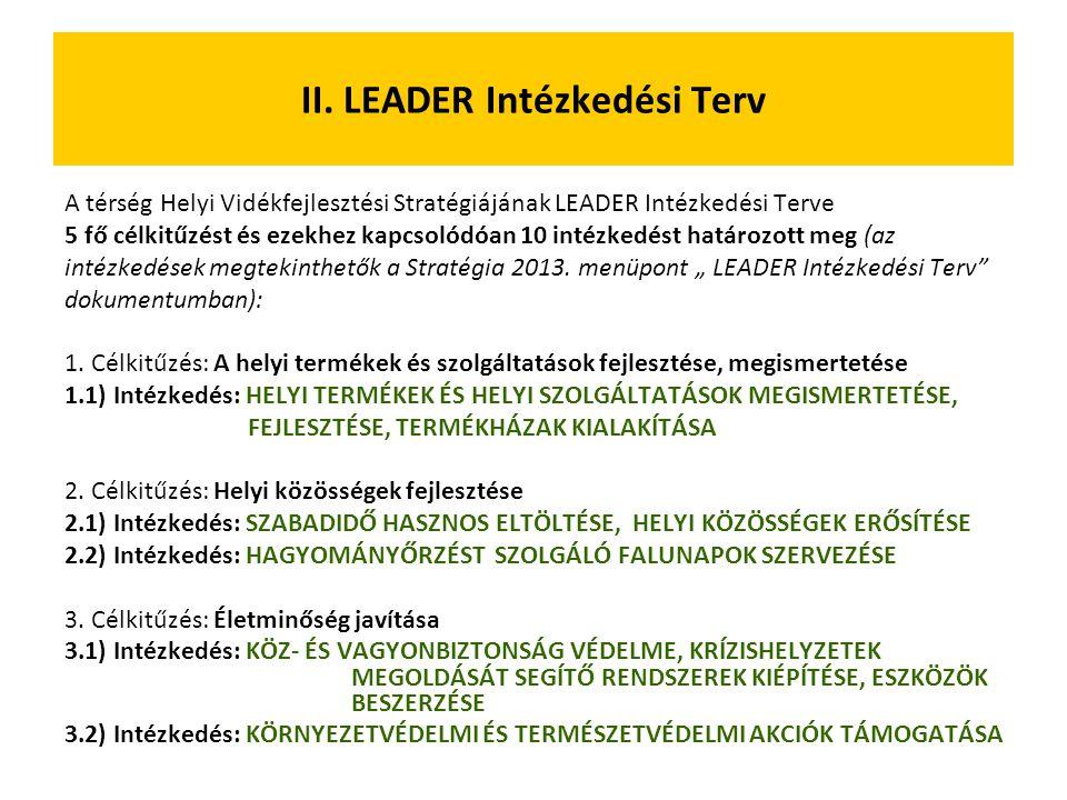 II. LEADER Intézkedési Terv A térség Helyi Vidékfejlesztési Stratégiájának LEADER Intézkedési Terve 5 fő célkitűzést és ezekhez kapcsolódóan 10 intézk