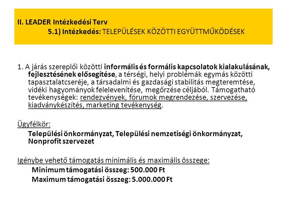 II. LEADER Intézkedési Terv 5.1) Intézkedés: TELEPÜLÉSEK KÖZÖTTI EGYÜTTMŰKÖDÉSEK 1. A járás szereplői közötti informális és formális kapcsolatok kiala