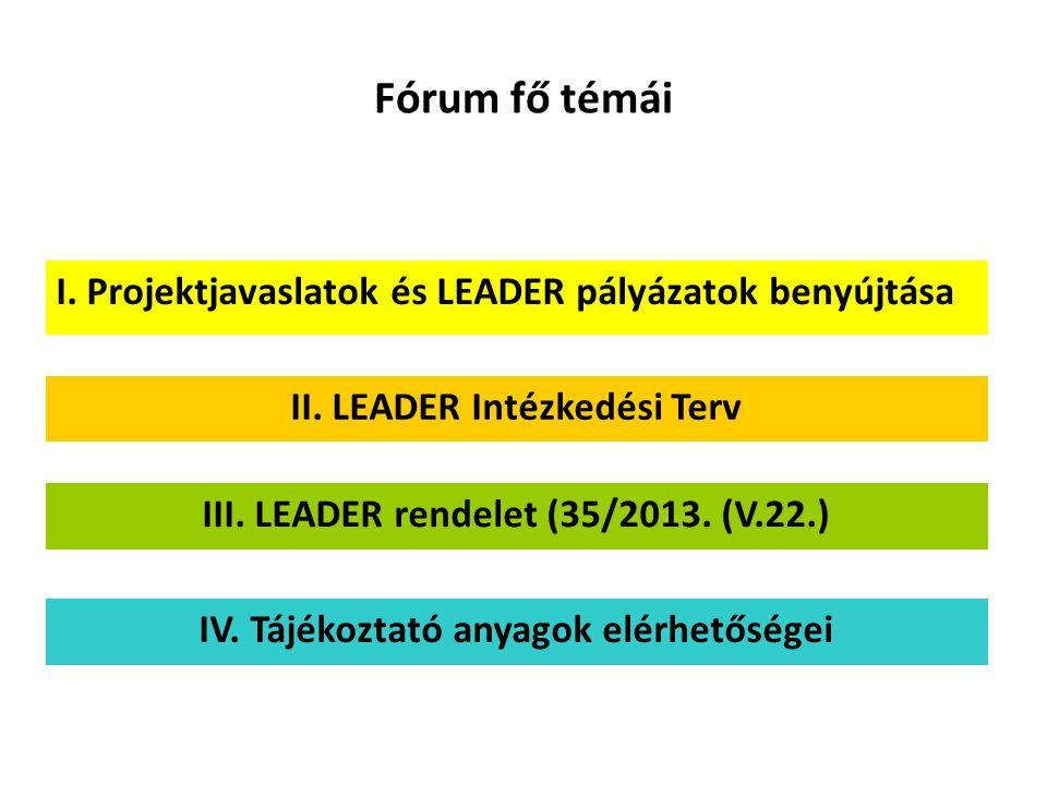 Fórum fő témái I. Projektjavaslatok és LEADER pályázatok benyújtása II. LEADER Intézkedési Terv III. LEADER rendelet (35/2013. (V.22.) IV. Tájékoztató