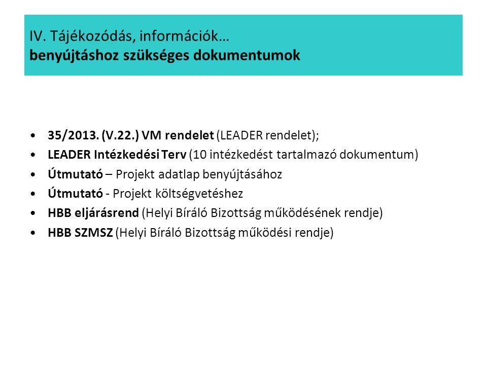 IV. Tájékozódás, információk… benyújtáshoz szükséges dokumentumok 35/2013. (V.22.) VM rendelet (LEADER rendelet); LEADER Intézkedési Terv (10 intézked