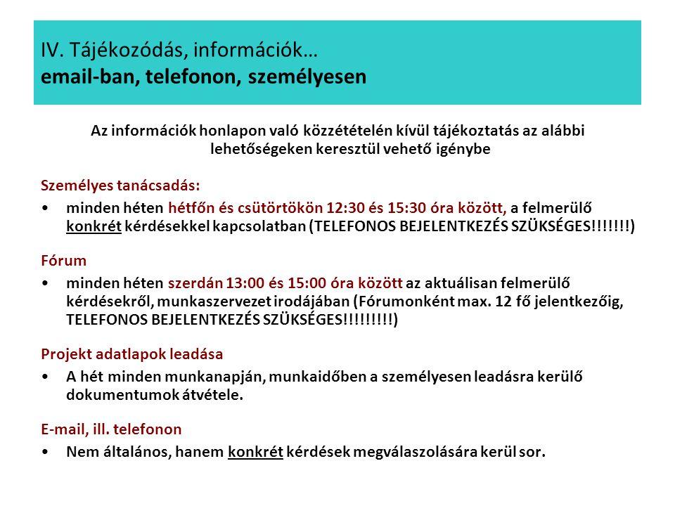 IV. Tájékozódás, információk… email-ban, telefonon, személyesen Az információk honlapon való közzétételén kívül tájékoztatás az alábbi lehetőségeken k