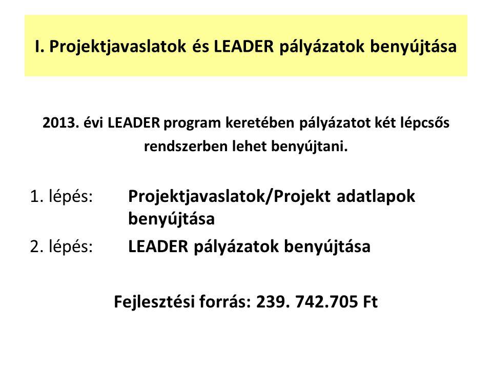 I. Projektjavaslatok és LEADER pályázatok benyújtása 2013. évi LEADER program keretében pályázatot két lépcsős rendszerben lehet benyújtani. 1. lépés: