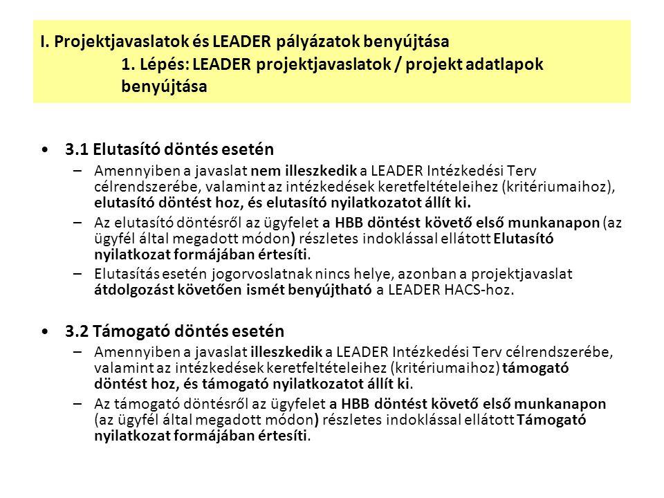 I. Projektjavaslatok és LEADER pályázatok benyújtása 1. Lépés: LEADER projektjavaslatok / projekt adatlapok benyújtása 3.1 Elutasító döntés esetén –Am