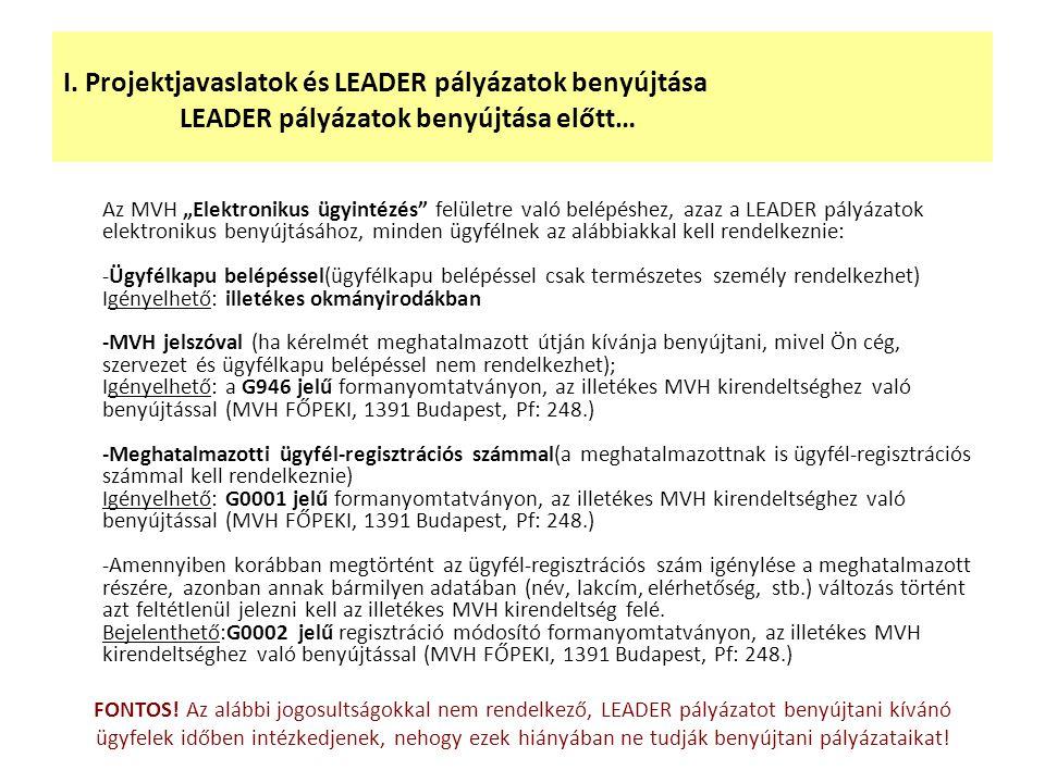 """I. Projektjavaslatok és LEADER pályázatok benyújtása LEADER pályázatok benyújtása előtt… Az MVH """"Elektronikus ügyintézés"""" felületre való belépéshez, a"""