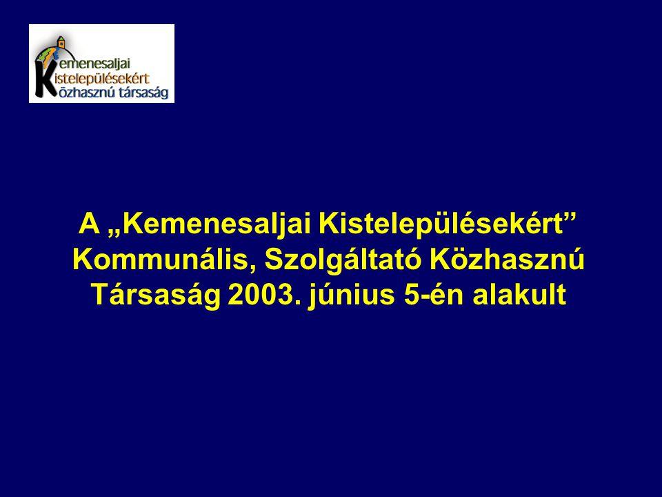 """A """"Kemenesaljai Kistelepülésekért"""" Kommunális, Szolgáltató Közhasznú Társaság 2003. június 5-én alakult"""