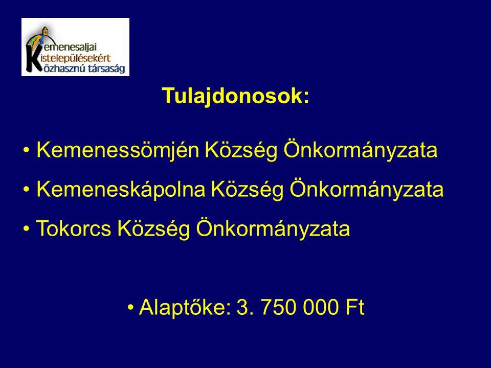 Tulajdonosok: Kemenessömjén Község Önkormányzata Kemeneskápolna Község Önkormányzata Tokorcs Község Önkormányzata Alaptőke: 3. 750 000 Ft