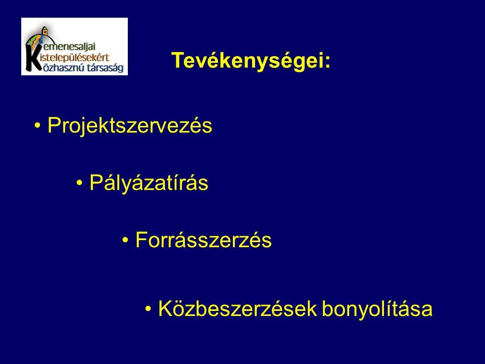 Tevékenységei: Projektszervezés Pályázatírás Forrásszerzés Közbeszerzések bonyolítása