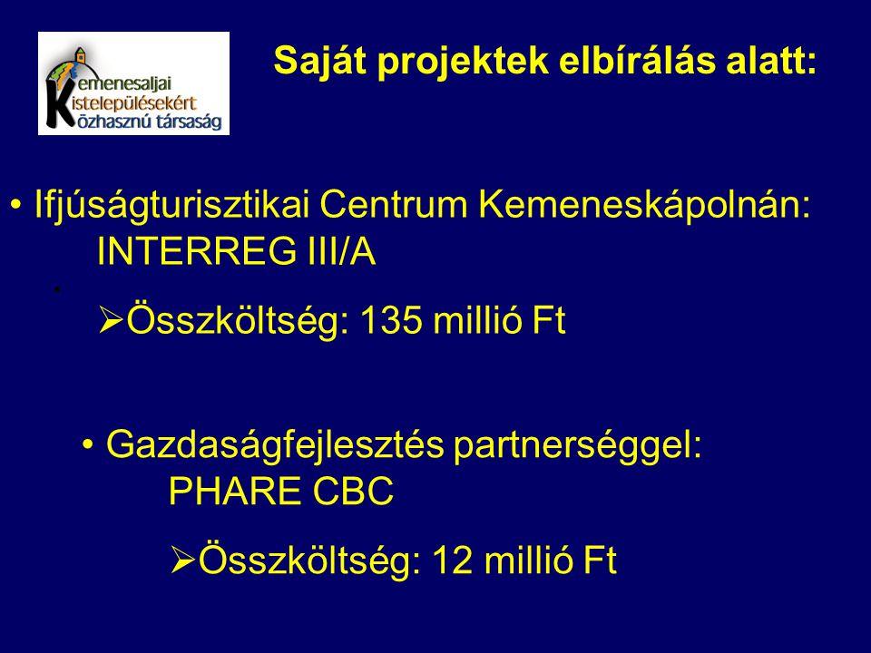 Saját projektek elbírálás alatt: Ifjúságturisztikai Centrum Kemeneskápolnán: INTERREG III/A  Összköltség: 135 millió Ft Gazdaságfejlesztés partnerség