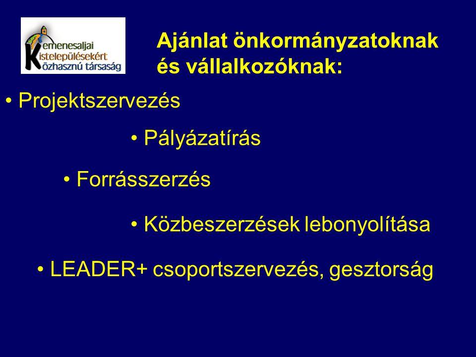 Ajánlat önkormányzatoknak és vállalkozóknak: Projektszervezés Pályázatírás Forrásszerzés Közbeszerzések lebonyolítása LEADER+ csoportszervezés, geszto