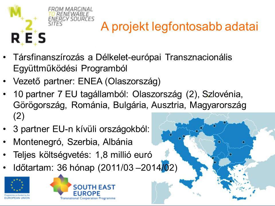 Társfinanszírozás a Délkelet-európai Transznacionális Együttműködési Programból Vezető partner: ENEA (Olaszország) 10 partner 7 EU tagállamból: Olaszország (2), Szlovénia, Görögország, Románia, Bulgária, Ausztria, Magyarország (2) 3 partner EU-n kívüli országokból: Montenegró, Szerbia, Albánia Teljes költségvetés: 1,8 millió euró Időtartam: 36 hónap (2011/03 –2014/02) A projekt legfontosabb adatai