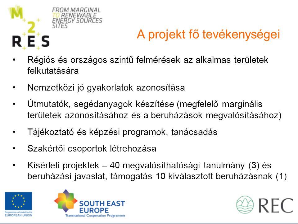 A projekt fő tevékenységei Régiós és országos szintű felmérések az alkalmas területek felkutatására Nemzetközi jó gyakorlatok azonosítása Útmutatók, segédanyagok készítése (megfelelő marginális területek azonosításához és a beruházások megvalósításához) Tájékoztató és képzési programok, tanácsadás Szakértői csoportok létrehozása Kísérleti projektek – 40 megvalósíthatósági tanulmány (3) és beruházási javaslat, támogatás 10 kiválasztott beruházásnak (1)