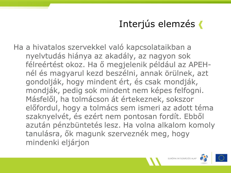 Interjús elemzés Ha a hivatalos szervekkel való kapcsolataikban a nyelvtudás hiánya az akadály, az nagyon sok félreértést okoz.