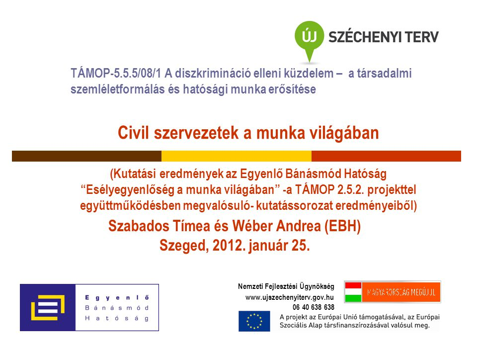 Civil szervezetek a munka világában (Kutatási eredmények az Egyenlő Bánásmód Hatóság Esélyegyenlőség a munka világában -a TÁMOP 2.5.2.