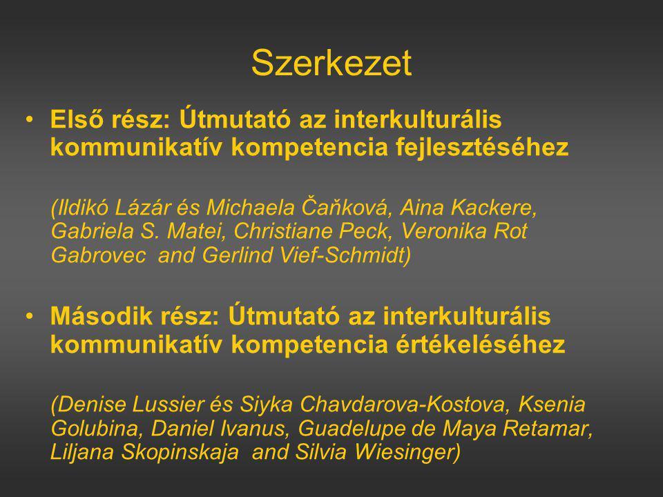 Szerkezet Első rész: Útmutató az interkulturális kommunikatív kompetencia fejlesztéséhez (Ildikó Lázár és Michaela Čaňková, Aina Kackere, Gabriela S.