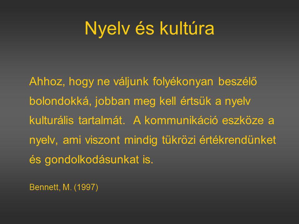 Nyelv és kultúra Ahhoz, hogy ne váljunk folyékonyan beszélő bolondokká, jobban meg kell értsük a nyelv kulturális tartalmát.