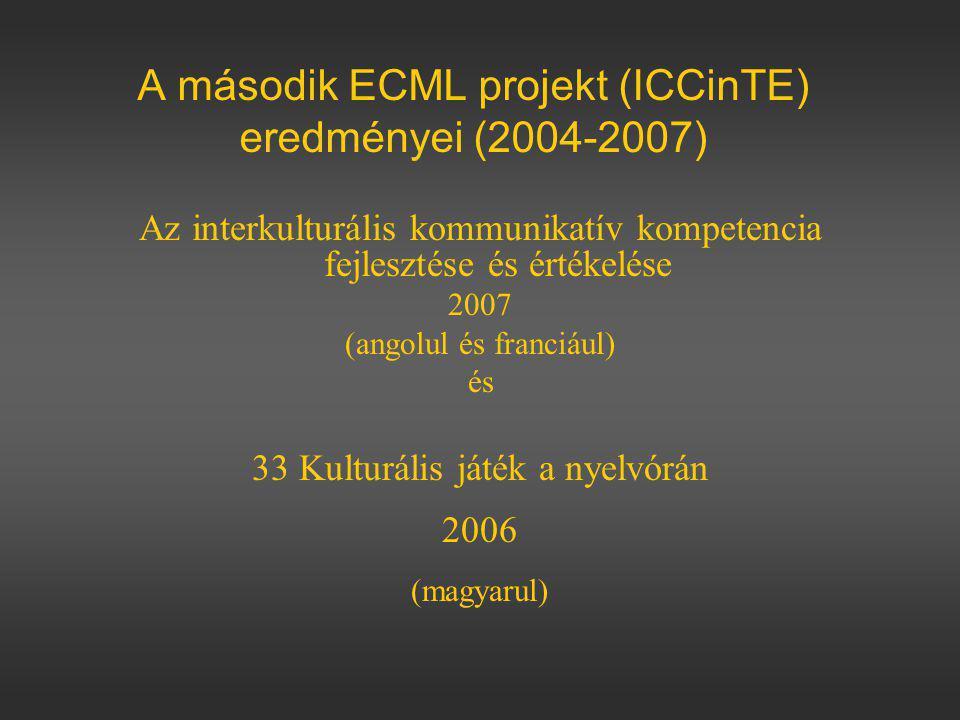 A második ECML projekt (ICCinTE) eredményei (2004-2007) Az interkulturális kommunikatív kompetencia fejlesztése és értékelése 2007 (angolul és franciául) és 33 Kulturális játék a nyelvórán 2006 (magyarul)