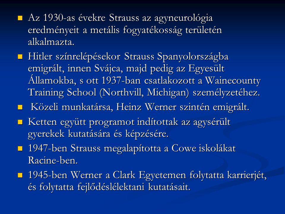 Az 1930-as évekre Strauss az agyneurológia eredményeit a metális fogyatékosság területén alkalmazta.