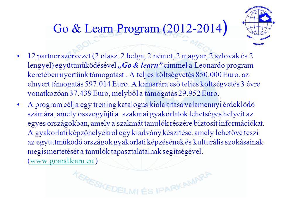 """Go & Learn Program (2012-2014 ) 12 partner szervezet (2 olasz, 2 belga, 2 német, 2 magyar, 2 szlovák és 2 lengyel) együttműködésével """"Go & learn címmel a Leonardo program keretében nyertünk támogatást."""