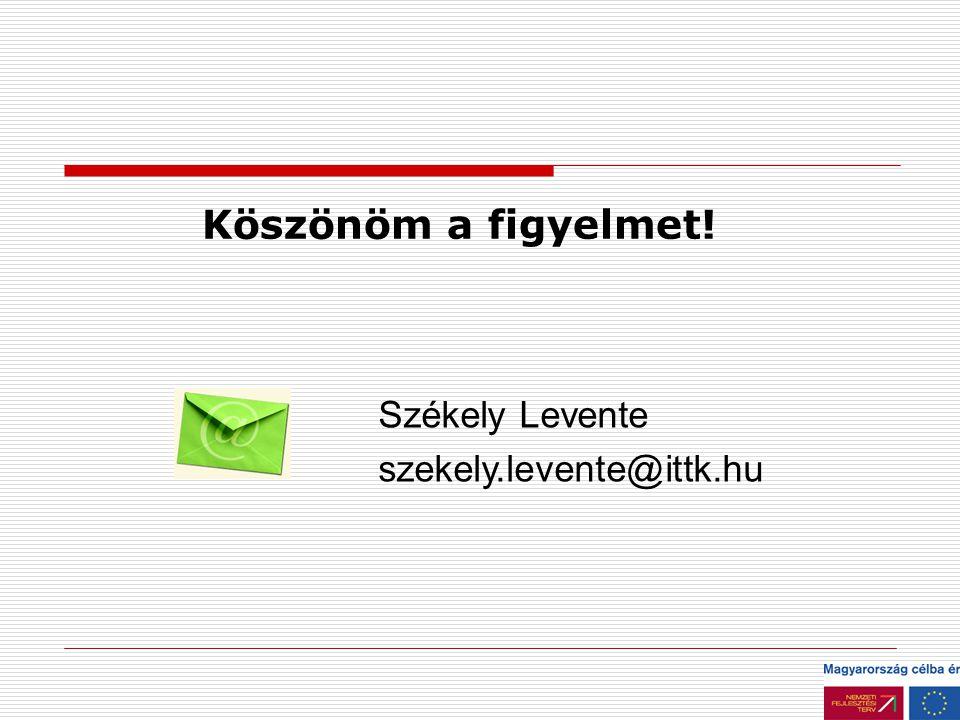 Köszönöm a figyelmet! Székely Levente szekely.levente@ittk.hu