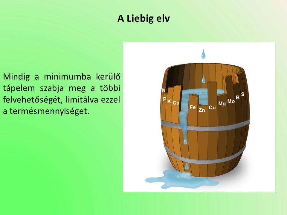 A Liebig elv Mindig a minimumba kerülő tápelem szabja meg a többi felvehetőségét, limitálva ezzel a termésmennyiséget.