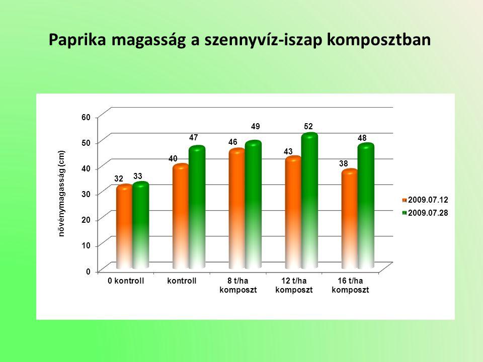 Paprika magasság a szennyvíz-iszap komposztban