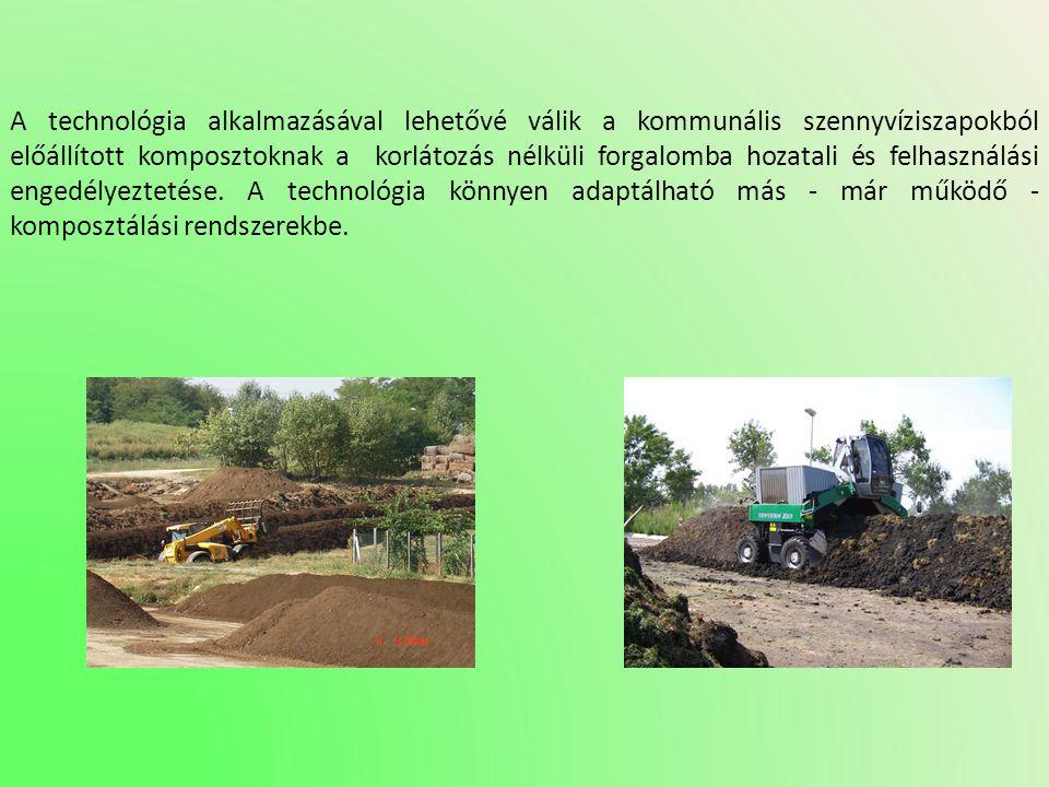 A technológia alkalmazásával lehetővé válik a kommunális szennyvíziszapokból előállított komposztoknak a korlátozás nélküli forgalomba hozatali és fel