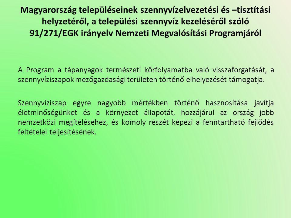 Magyarország településeinek szennyvízelvezetési és –tisztítási helyzetéről, a települési szennyvíz kezeléséről szóló 91/271/EGK irányelv Nemzeti Megva