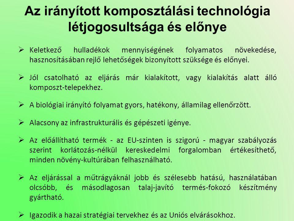 Az irányított komposztálási technológia létjogosultsága és előnye  Keletkező hulladékok mennyiségének folyamatos növekedése, hasznosításában rejlő le