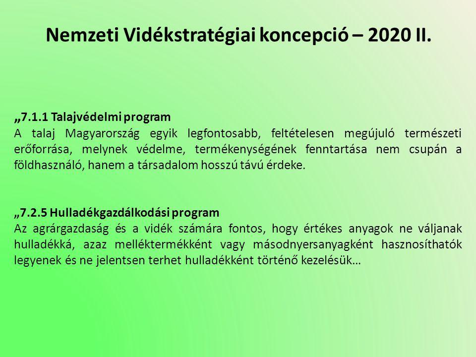 """Nemzeti Vidékstratégiai koncepció – 2020 II. """" 7.1.1 Talajvédelmi program A talaj Magyarország egyik legfontosabb, feltételesen megújuló természeti er"""