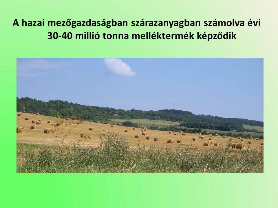 A hazai mezőgazdaságban szárazanyagban számolva évi 30-40 millió tonna melléktermék képződik