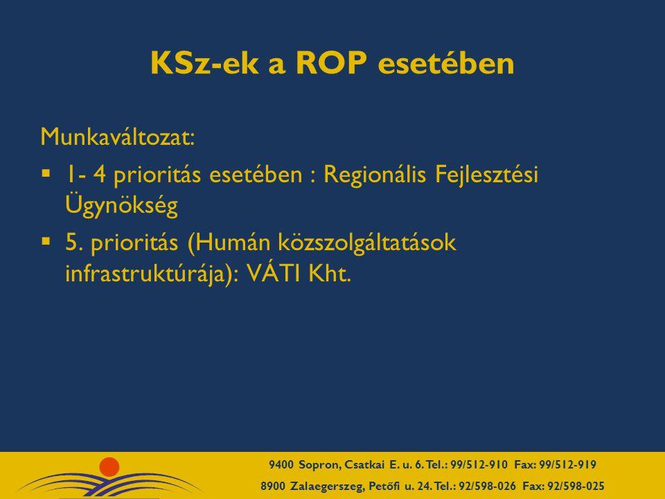 KSz-ek a ROP esetében Munkaváltozat:  1- 4 prioritás esetében : Regionális Fejlesztési Ügynökség  5.