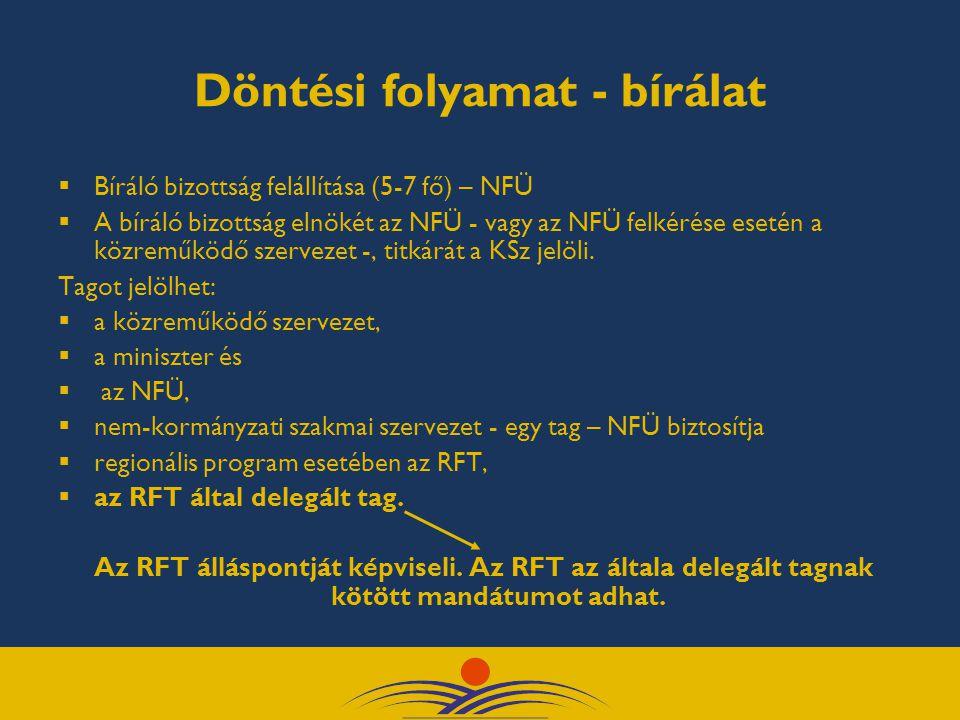 Döntési folyamat - bírálat  Bíráló bizottság felállítása (5-7 fő) – NFÜ  A bíráló bizottság elnökét az NFÜ - vagy az NFÜ felkérése esetén a közreműködő szervezet -, titkárát a KSz jelöli.