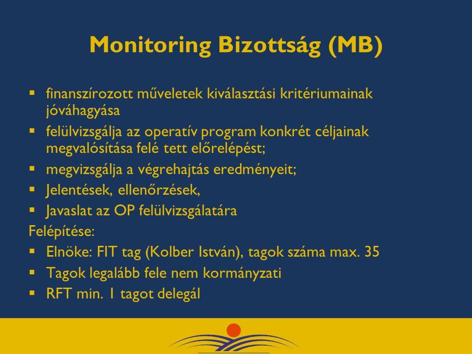 Monitoring Bizottság (MB)  finanszírozott műveletek kiválasztási kritériumainak jóváhagyása  felülvizsgálja az operatív program konkrét céljainak megvalósítása felé tett előrelépést;  megvizsgálja a végrehajtás eredményeit;  Jelentések, ellenőrzések,  Javaslat az OP felülvizsgálatára Felépítése:  Elnöke: FIT tag (Kolber István), tagok száma max.