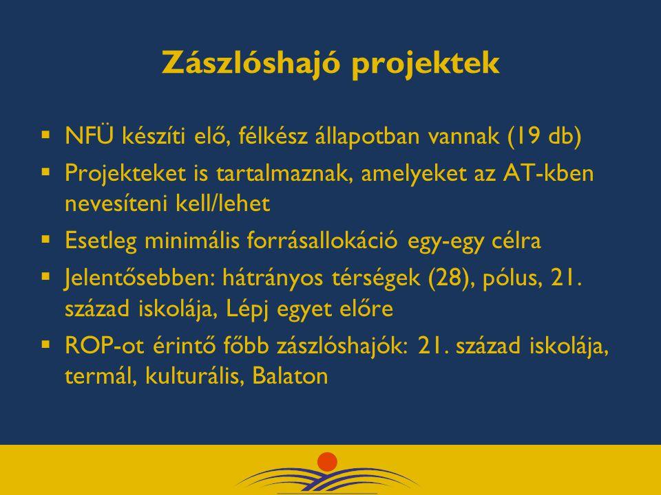 Zászlóshajó projektek  NFÜ készíti elő, félkész állapotban vannak (19 db)  Projekteket is tartalmaznak, amelyeket az AT-kben nevesíteni kell/lehet  Esetleg minimális forrásallokáció egy-egy célra  Jelentősebben: hátrányos térségek (28), pólus, 21.