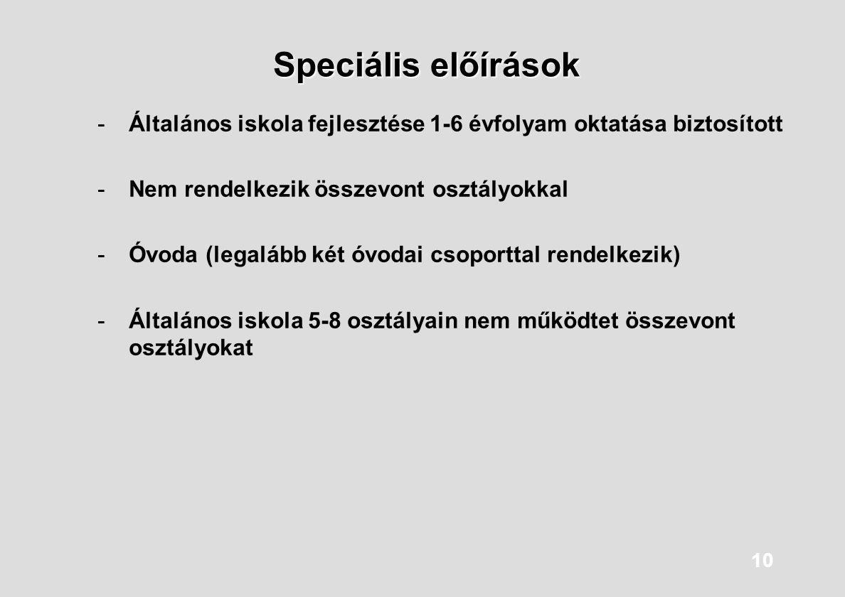 10 Speciális előírások -Általános iskola fejlesztése 1-6 évfolyam oktatása biztosított -Nem rendelkezik összevont osztályokkal -Óvoda (legalább két óv