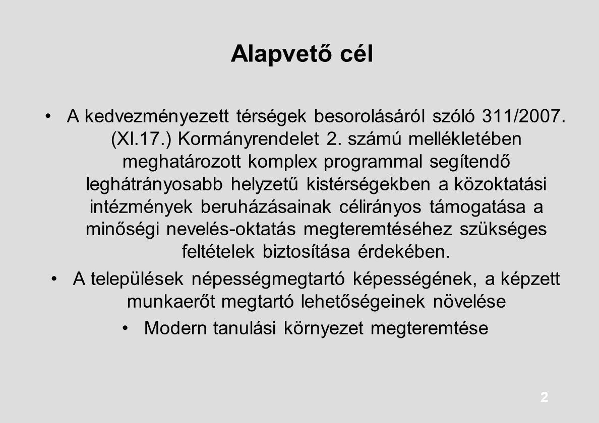 2 Alapvető cél A kedvezményezett térségek besorolásáról szóló 311/2007. (XI.17.) Kormányrendelet 2. számú mellékletében meghatározott komplex programm