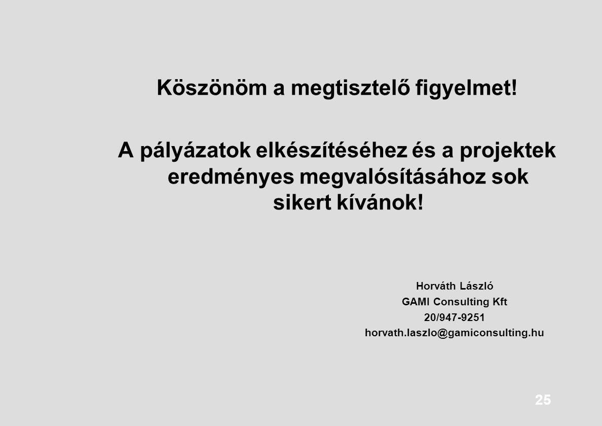 25 Köszönöm a megtisztelő figyelmet! A pályázatok elkészítéséhez és a projektek eredményes megvalósításához sok sikert kívánok! Horváth László GAMI Co