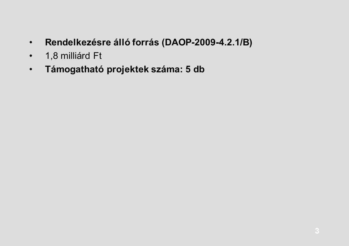 3 Rendelkezésre álló forrás (DAOP-2009-4.2.1/B) 1,8 milliárd Ft Támogatható projektek száma: 5 db