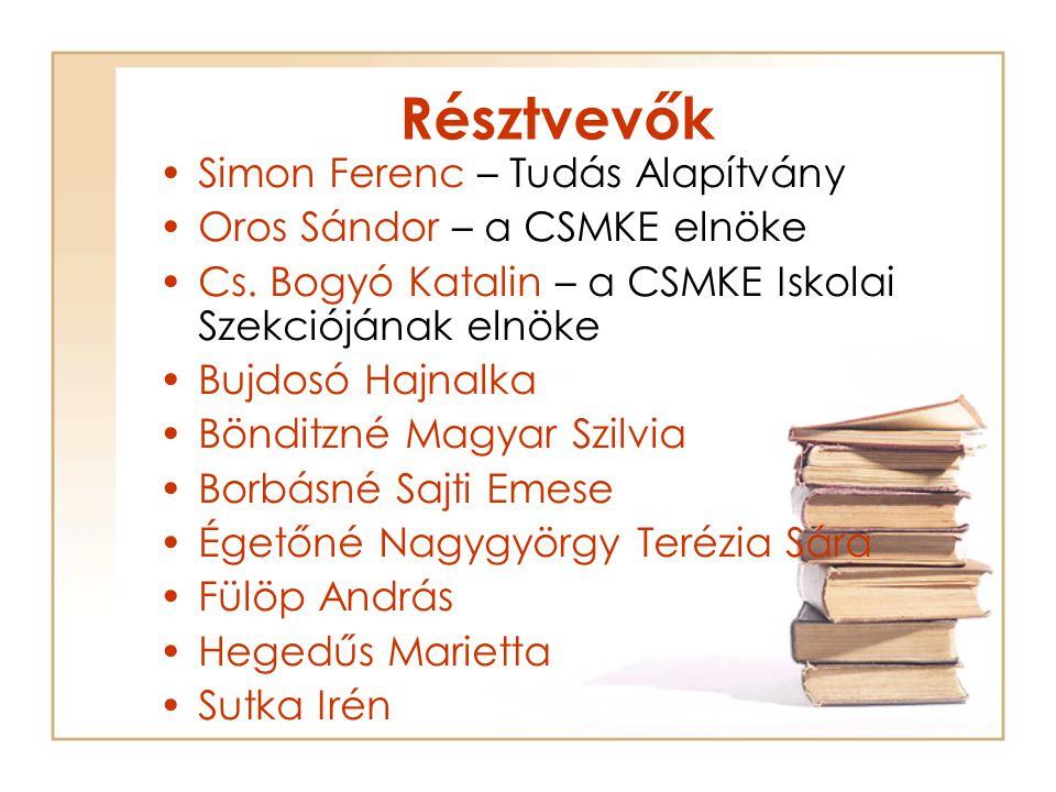 Résztvevők Simon Ferenc – Tudás Alapítvány Oros Sándor – a CSMKE elnöke Cs.