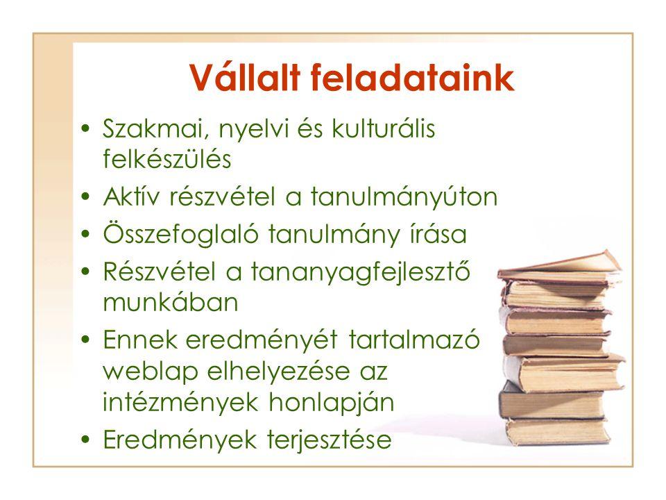 Vállalt feladataink Szakmai, nyelvi és kulturális felkészülés Aktív részvétel a tanulmányúton Összefoglaló tanulmány írása Részvétel a tananyagfejlesz