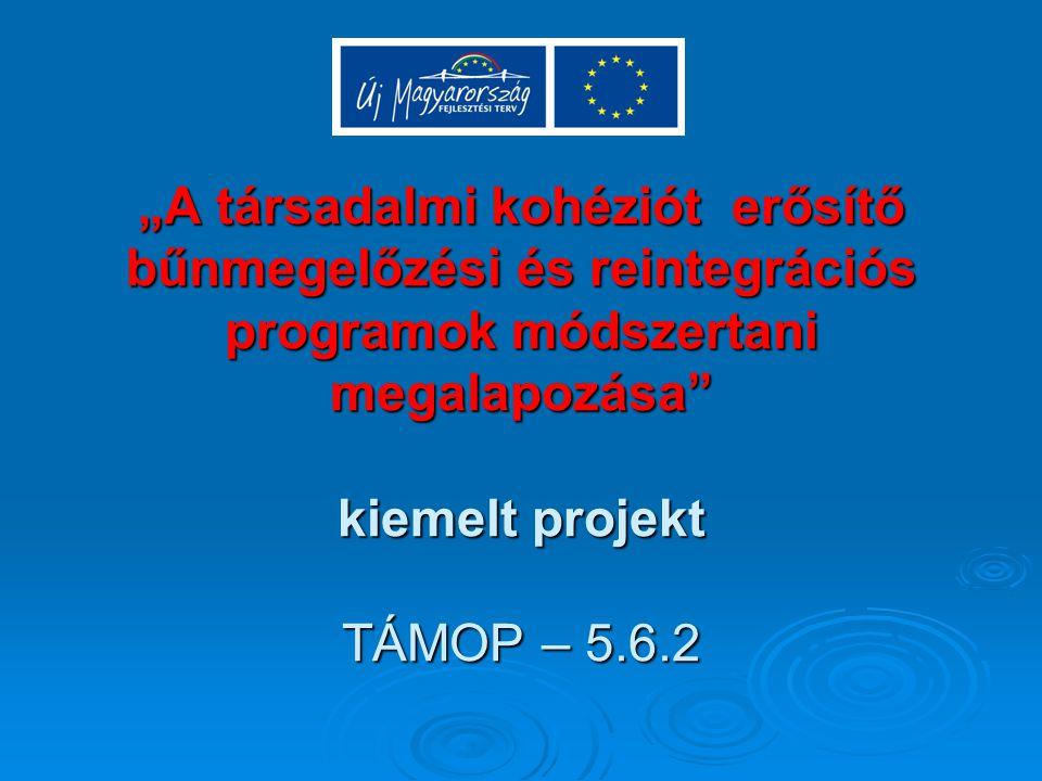 """""""A társadalmi kohéziót erősítő bűnmegelőzési és reintegrációs programok módszertani megalapozása kiemelt projekt TÁMOP – 5.6.2"""