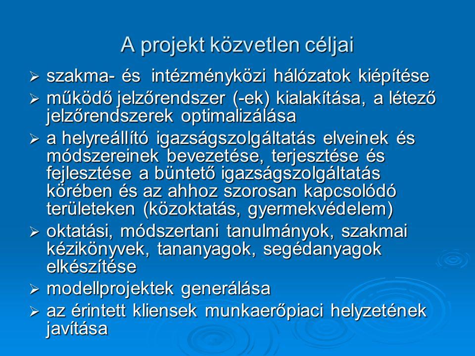 A projekt közvetlen céljai  szakma- és intézményközi hálózatok kiépítése  működő jelzőrendszer (-ek) kialakítása, a létező jelzőrendszerek optimalizálása  a helyreállító igazságszolgáltatás elveinek és módszereinek bevezetése, terjesztése és fejlesztése a büntető igazságszolgáltatás körében és az ahhoz szorosan kapcsolódó területeken (közoktatás, gyermekvédelem)  oktatási, módszertani tanulmányok, szakmai kézikönyvek, tananyagok, segédanyagok elkészítése  modellprojektek generálása  az érintett kliensek munkaerőpiaci helyzetének javítása