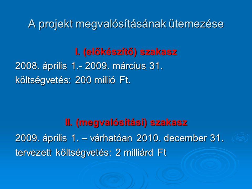 A projekt megvalósításának ütemezése I.(előkészítő) szakasz 2008.