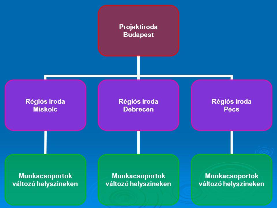 Projektiroda Budapest Régiós iroda Miskolc Munkacsoportok változó helyszíneken Régiós iroda Debrecen Munkacsoportok változó helyszíneken Régiós iroda Pécs Munkacsoportok változó helyszíneken
