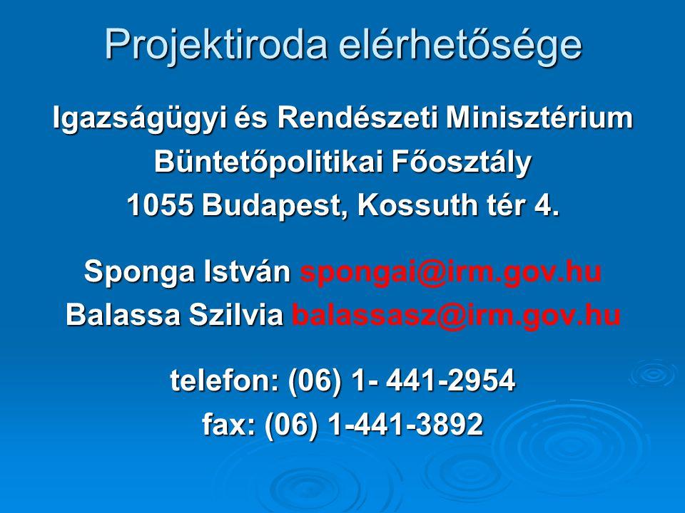 Projektiroda elérhetősége Igazságügyi és Rendészeti Minisztérium Büntetőpolitikai Főosztály 1055 Budapest, Kossuth tér 4.