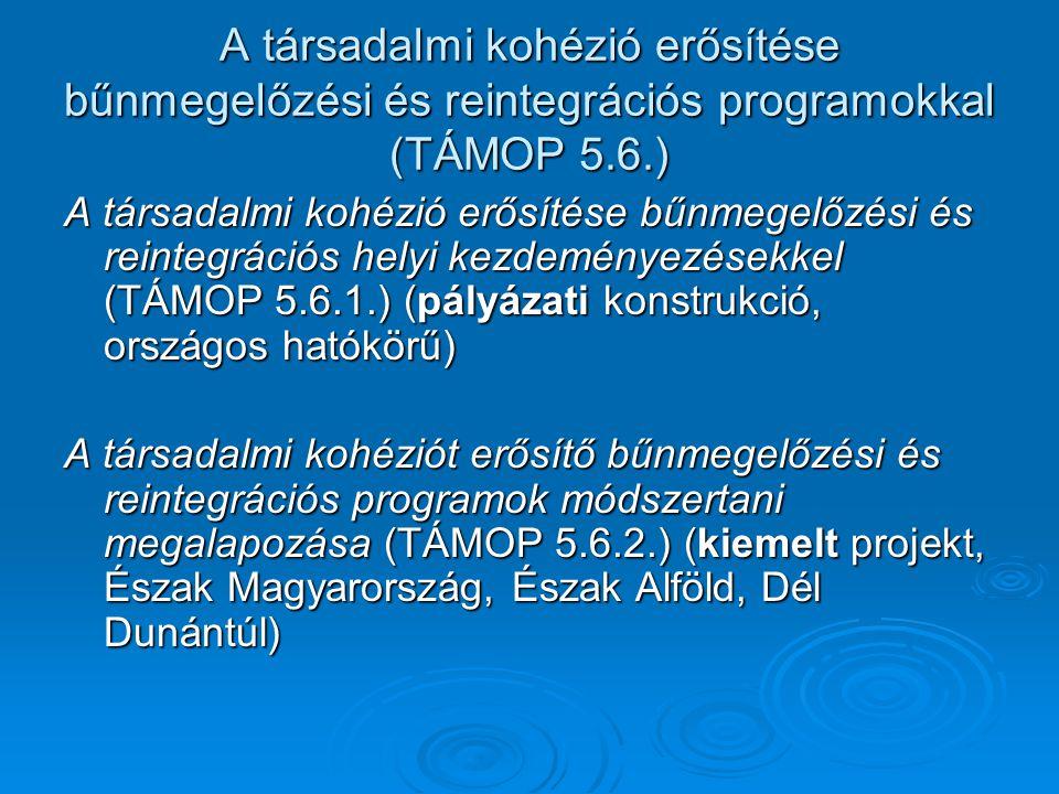 A társadalmi kohézió erősítése bűnmegelőzési és reintegrációs programokkal (TÁMOP 5.6.) A társadalmi kohézió erősítése bűnmegelőzési és reintegrációs helyi kezdeményezésekkel (TÁMOP 5.6.1.) (pályázati konstrukció, országos hatókörű) A társadalmi kohéziót erősítő bűnmegelőzési és reintegrációs programok módszertani megalapozása (TÁMOP 5.6.2.) (kiemelt projekt, Észak Magyarország, Észak Alföld, Dél Dunántúl)