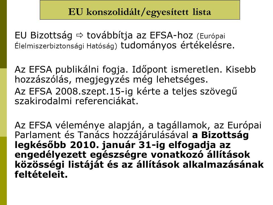 EU konszolidált/egyesített lista EU Bizottság  továbbítja az EFSA-hoz (Európai Élelmiszerbiztonsági Hatóság) tudományos értékelésre. Az EFSA publikál