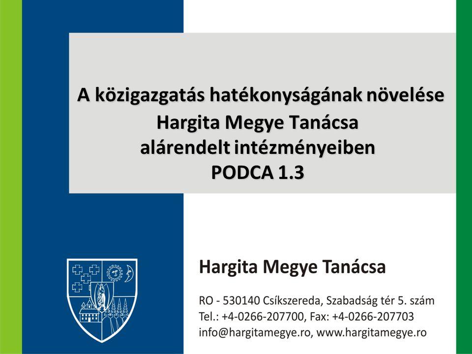 A közigazgatás hatékonyságának növelése Hargita Megye Tanácsa alárendelt intézményeiben PODCA 1.3